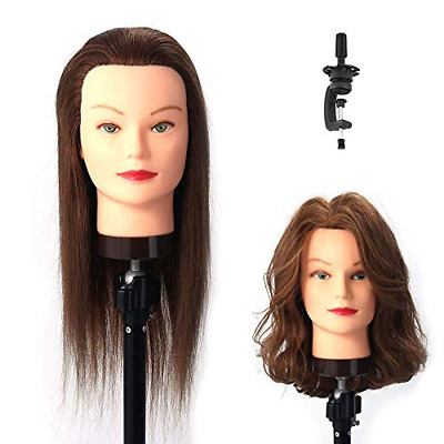 HAIREALM Manikin Mannequin Head Cosmetology Hairdressing 100% Real Human Hair