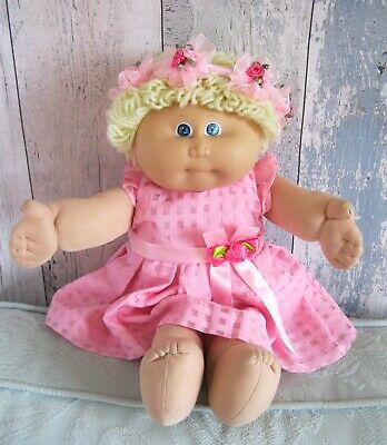 Cabbage Patch Kid Lemon Blonde Kt Vintage Girl 'Shy Face' Doll With Pink Dress