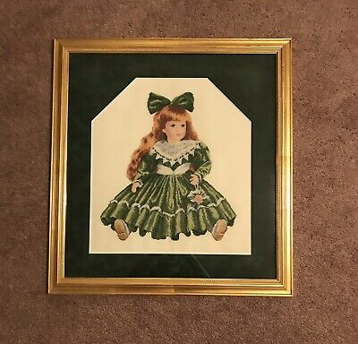 Girl In Green Dress Finished Framed Cross Stitch Piece