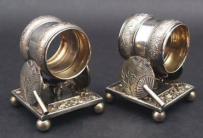 Pair Antique Early 20thC Rogers, Smith & Co Silverplate Figural Napkin Rings
