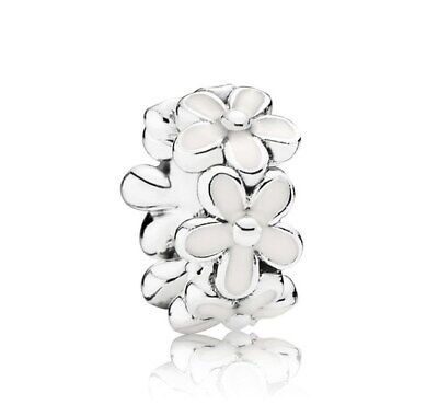 925 Sterling Silver Darling Daisies Spacer Charms Clear CZ Dangle Charm Bead