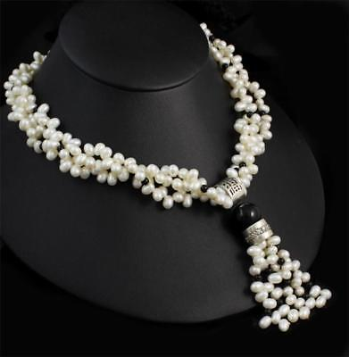 Sterling Silver Multi Strand Baroque Pearl Onyx Bead Chinese Character Necklace