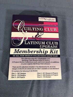 Anita Goodesign Quilting Club Starter Kit 6 CDs With Over 1000 Designs Mint