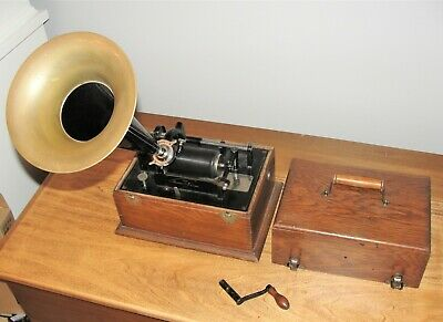 Thomas Edison 2 minute Standard Phonograph Horn Crank and 1 cylinder C WORKS !