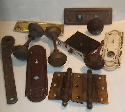 Antique Vintage Door Knobs, Plates, Lock Plates, Hinges, Etc
