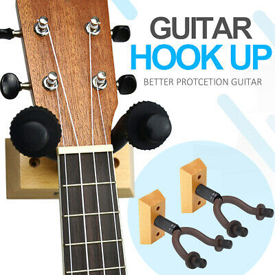 2Pcs Wood Guitar Wall Mounted Hanger Holder Stand Rack Hook Fits All guitars