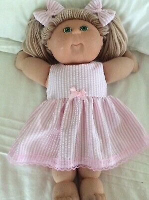 "DOLLS CLOTHES - DRESS & BOWS to fit 16"" CABBAGE PATCH ~ Pink White Stripe"