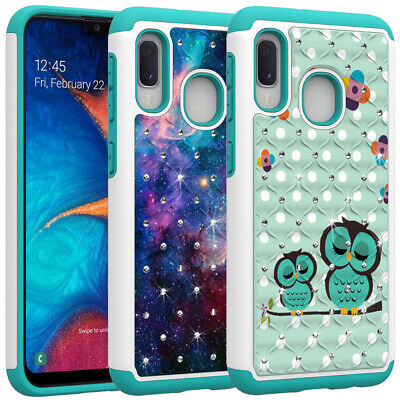 For Samsung Galaxy A10e A50 A30 A20 Shockproof Bling Diamond Case Cover & Film