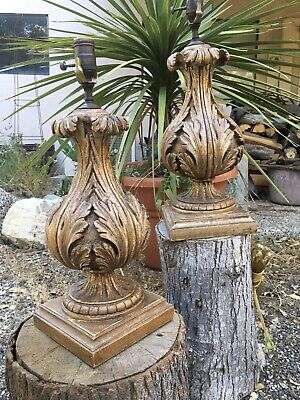 Pair Of Great Italian Lamps Gilded Carved Wood Acanthus Leaf Urns Italy European