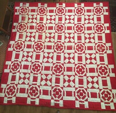 """Vintage Red & White Patchwork Thick Quilt 82"""" x 80"""" mid 20th Century 6 SPI AAFA"""