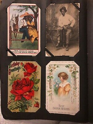 EARLY 1900s POSTCARD ALBUM APPROX.300 CARDS,BLK AM,RPPCs ,HOLIDAYS