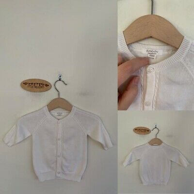 Sz 0000 Purebaby White Cotton Knit Cardigan