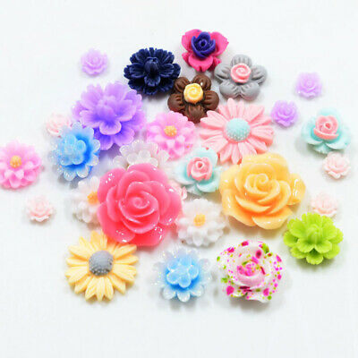 Lots 50pcs Mixed Color Resin Beads Rose Flower Flat Back Embellishment Craft DIY