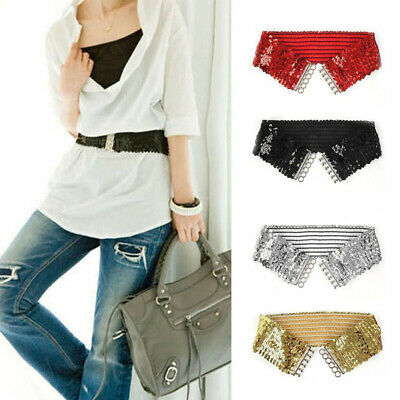 Women Glitter Sequins Belt Elastic Wide Waistband Stretchy Girdle Costume Acces