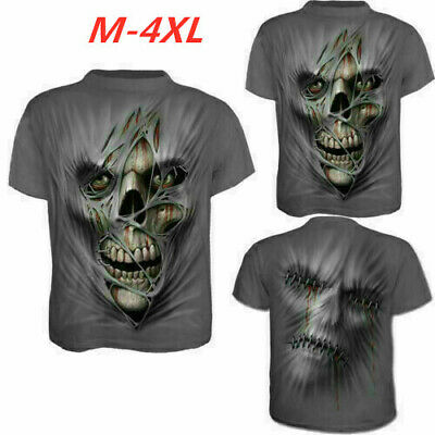 Men's Fashion 3D Skull Printed T-shirt Clothing Casual Short Sleeve O-neck Tops