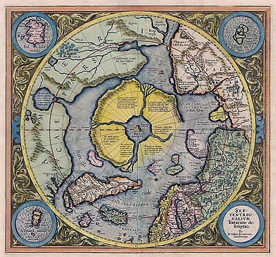 1595 Flat Earth Map North Pole Septentrionalium Terrarum Wall Art Poster Print