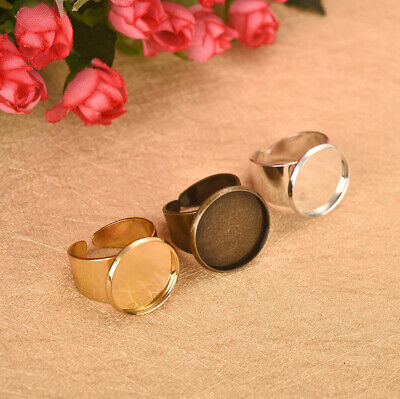 5Pcs 16-20mm Alloy Adjustable Ring Settings Bronze/Silver/Gold Jewelry DIY