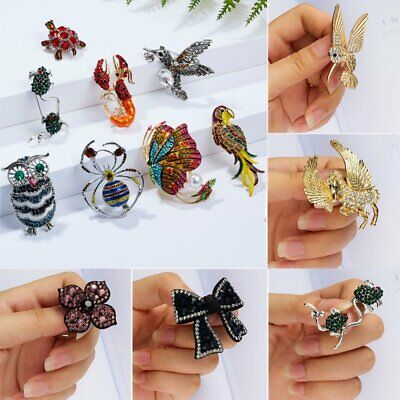 Crystal Rhinestone Owl Butterfly Brooch Pin Corsage Jewellery Gift Women Ladies