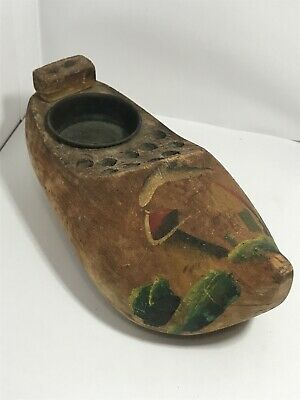 Vintage Carved Wooden Souvenir Clog Inkwell & Pen Holder, Hand Painted