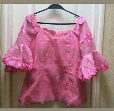 Pink Detailed Lace Fabric - African Wear. Skirt And Blouse With Scarf. Uk Siz 18