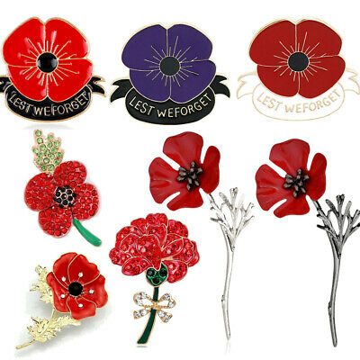 Poppy Flower Vintage Brooch Pin Red Crystal Flower Badge Pins Poppies Brooches