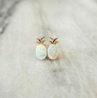 925 Silver White Opal Earrings Women Jewelry Fruit Pineapple Wedding Ear Studs