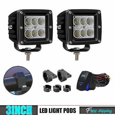2Pcs 3Inch 18W Led Cube Pods Work Lights + Mounting Brackets + Wiring For Jeep