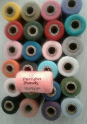 25  Purr-fect Punch Acrylic Yarn 225 yards, NEW, Mixed Colors