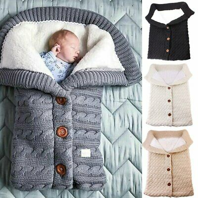 Newborn Baby Infant Knit Swaddle Wrap Swaddling Blanket Soft Warm Sleeping Bag