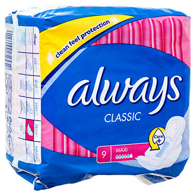 New 361189  Always Classic Maxi Pad W / Wings 9 Ct (16-Pack) Feminine Hygiene
