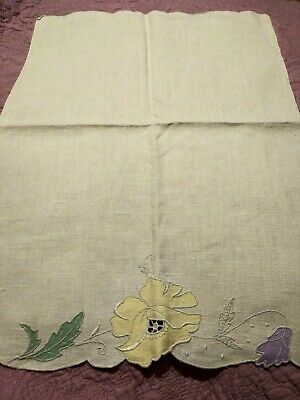"Madeira Embroidered & Applique Heavy Linen Hand Towel 20"" by 15"""