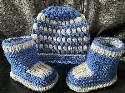 New hand knitted  Romany Bling baby Boy booties/crochet hat 0-3 months