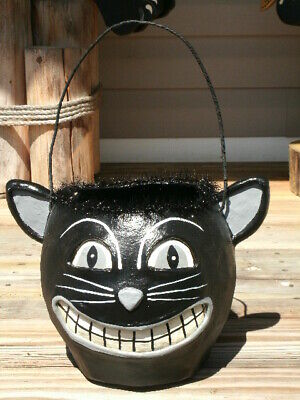 Vintage Style Large Paper Mache Black Cat Halloween Candy Bucket Pail