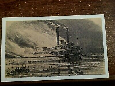 MISSISSIPPI RIVER SIDE - Wheel Steam Ship c1903 Trade Ad Card