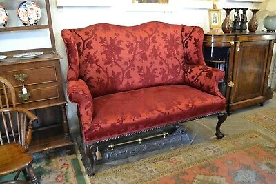 George III - IV Heavy Mahogany Framed Double Carved Chair on Ball and Claw Feet