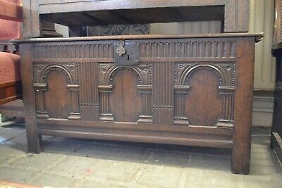 17th C Carved Early Oak Coffer with Single Plank Top
