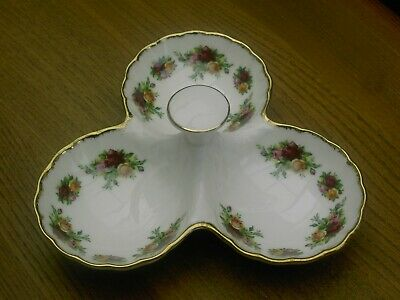 Royal Albert Old Counrty Roses  -Triple / 3 Section Relish Pickle Dish Good Con