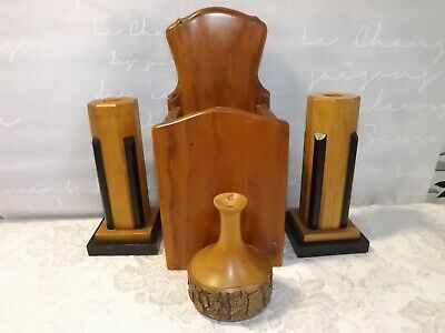 Treen -  4 Items of Woodwork All in VGC. Pair of Candles Sticks, Candle Box