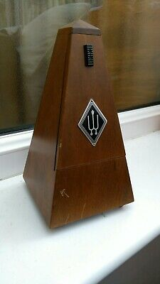 Vintage Made In Germany Wittner Wooden Pyramidal Hand Wound Mechanical Metronome