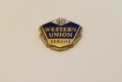 Vintage WESTERN UNION 40 YEAR EMPLOYEE SERVICE PIN, 1/10 10 Kt Gold