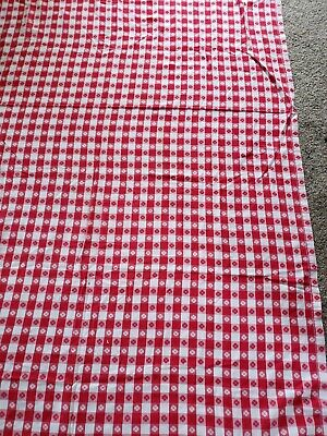 Vintage 51 X 79 inch Cotton Red White Check Gingham Table Cloth picnic BBQ barn
