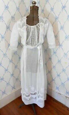 Vintage Antique Edwardian White Cotton Lawn Lace Boho Wedding Dress Gown VG