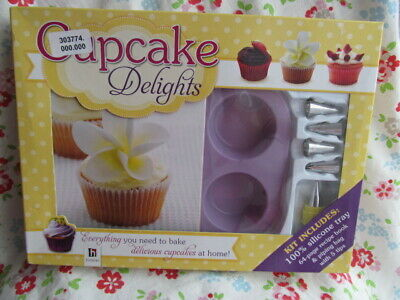 Cupcake Delights Kit Silicone Tray, 64 Page Book, Pipe Bag 5 x Nozzles NEW Boxed