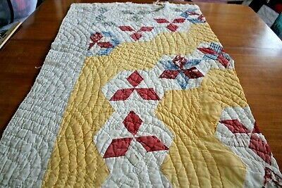 Vintage 1800s Cutter Quilt Piece Yellow Turkey Red Star Patchwork Project 23X37