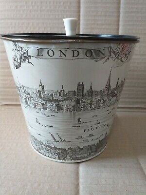 VINTAGE SMALL METAL WASTE PAPER BIN  FORNASETTI STYLE with lid