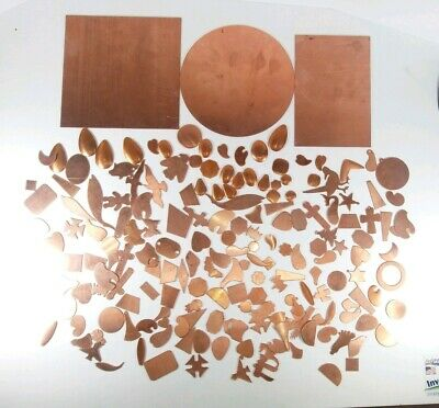 Over 180 Stamped copper + 3 plates for Copper Enameling, Jewelry, see pics!!