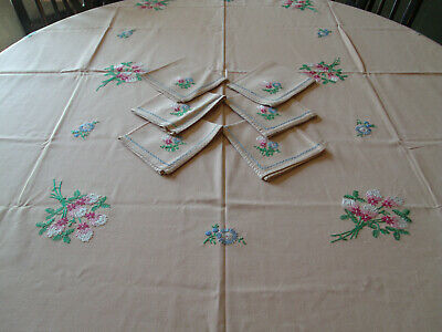 Vintage Hand Embroidered Tablecloth and Napkin Set-62x52 with 6 Napkins