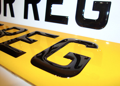 3d GEL JEL Letters Car Number Plates SHOW PLATE Front AND Rear BLACK