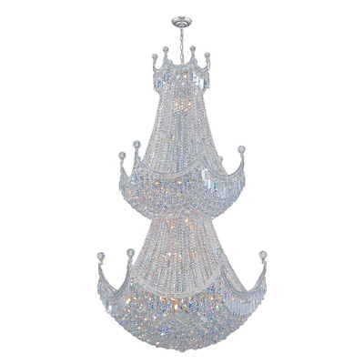 Worldwide Lighting Empire Collection 51 Light Chrome Finish Crystal Chandelier D