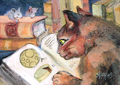 ACEO cat mice book library moon cheese original acrylic painting tbartsartist